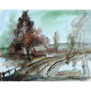 1960's Tonalist Rustic Farm Scene Oil Painting For Sale