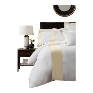 Monte Carlo Banded Duvet Cover Queen - Limestone For Sale