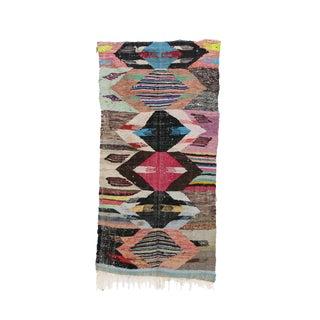 1980s Boucherouite Moroccan Kilim Rug - 3′10″ × 7′7″ For Sale