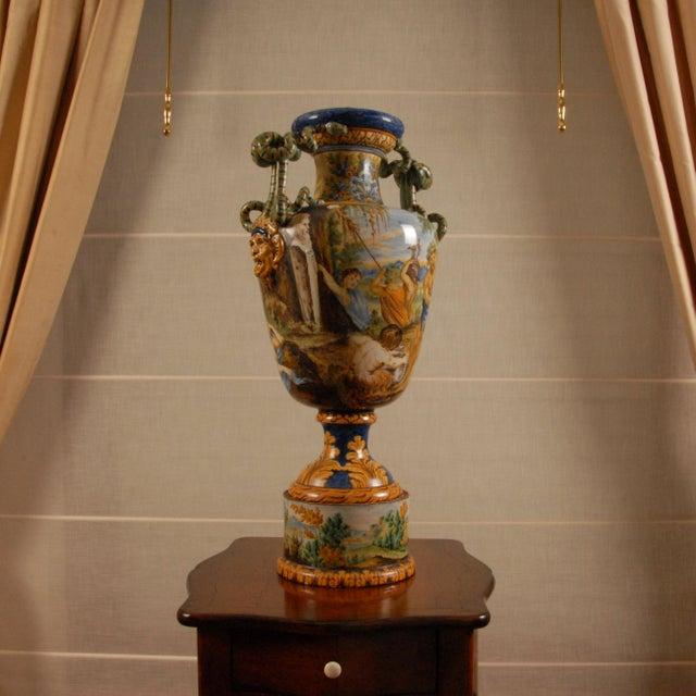 Early 19th Century Italian Majolica Serpentine Handle Mythological Vase For Sale - Image 5 of 13