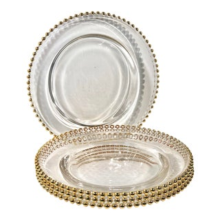 Set of 4 Traditional Glass Chargers Holiday Dinnerware With Gold Balled Edge For Sale