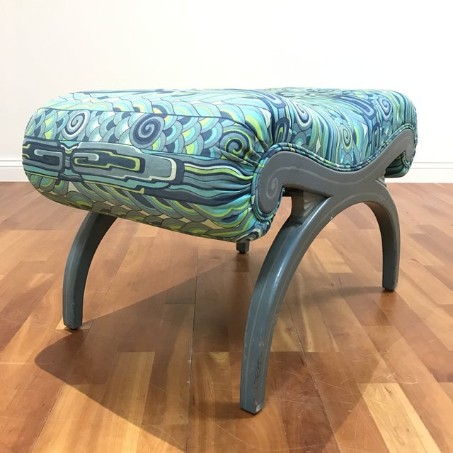 Grosfeld House bench with original french grey painted finish legs reviling minor wear. No cracks chips or breaks to the...