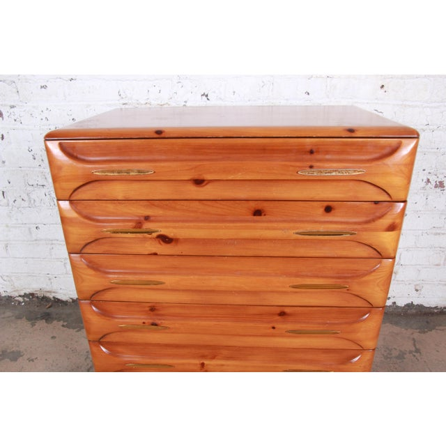 Franklin Shockey Company Franklin Shockey Rustic Modern Sculptured Pine Highboy Dresser C. 1950s For Sale - Image 4 of 10