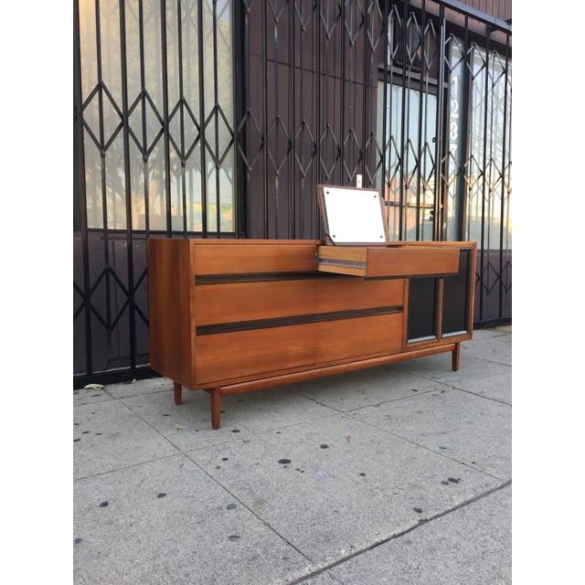 Mid-Century Modern Mid Century Lowboy Dresser With Hidden Vanity by H.Paul Browning for Stanley Furniture Co. For Sale - Image 3 of 13