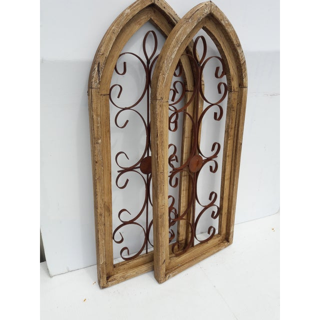 2000 - 2009 Rustic Country Farmhouse Cathedral Window Grilled Shabby Wall Garden Hangings For Sale - Image 5 of 8