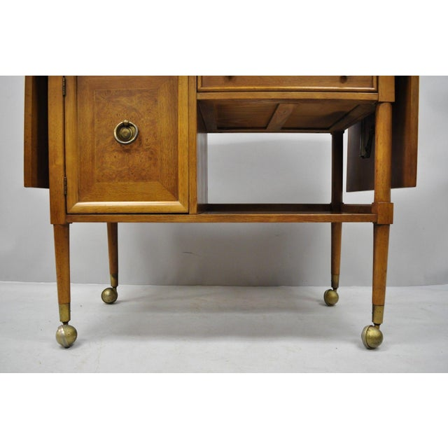 Brown Mid-Century Modern American of Martinsville Walnut Drop Leaf Server Bar Buffet For Sale - Image 8 of 11