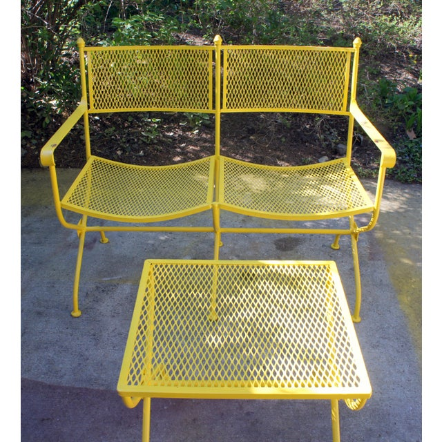Vintage Mid Century Buttercup Yellow French Directoire Style Wrought Iron Patio Set- 5 Pieces For Sale In Washington DC - Image 6 of 13