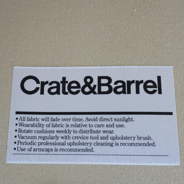 2010s Modern Crate & Barrel Contemporary Beige Upholstered Button Tufted Sofa For Sale - Image 5 of 7