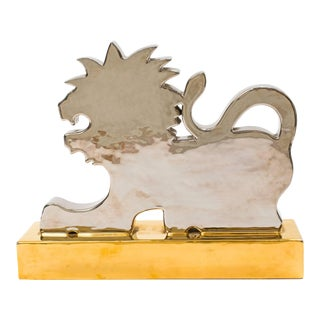 Silver and Gold Lion Sculpture by Ugo Zaccagnini For Sale
