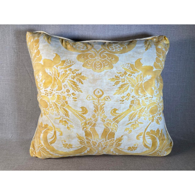 Vintage Yellow Fortuny Pillow For Sale In Philadelphia - Image 6 of 6