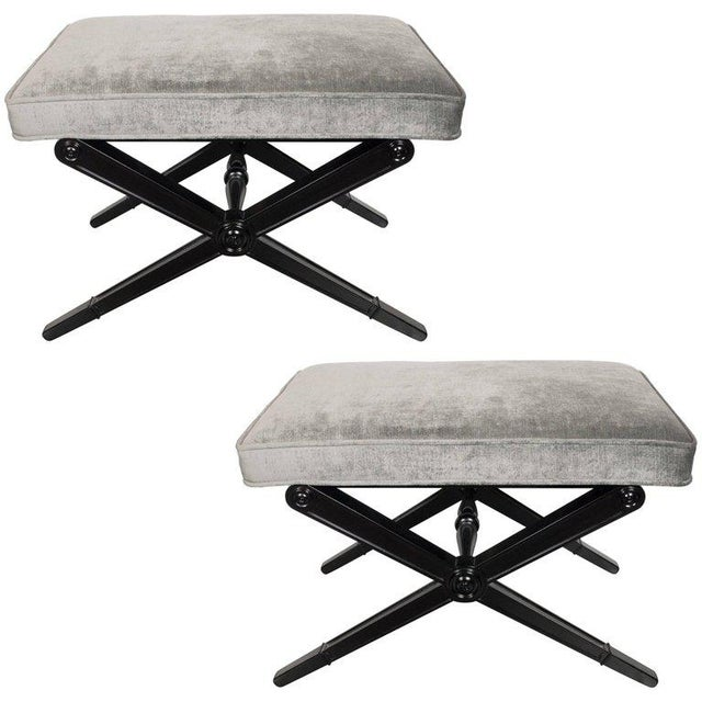 Black Pair of Mid-Century Modern X-Form Benches in Ebonized Walnut and Platinum Velvet For Sale - Image 8 of 8