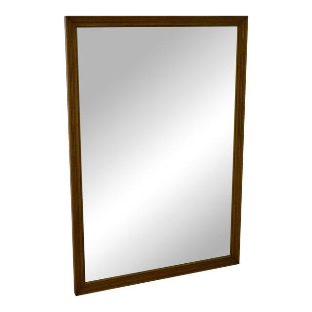 Henredon Vintage Walnut Frame Rectangular Wall Mirror For Sale