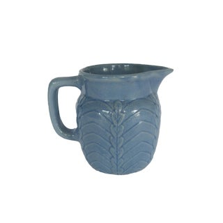 Antique Small Blue Stoneware Pottery Glazed Pitcher For Sale