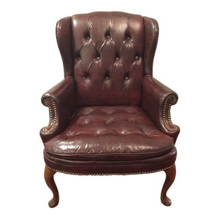 1970s Traditional Tufted Brown Vinyl Wingback Chair For Sale
