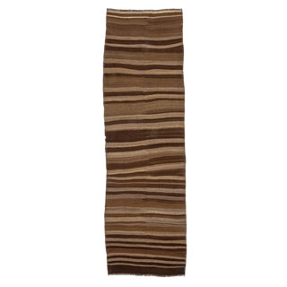 "Vintage Striped Natural Brown Wool Kilim Runner-3'2'x10'4"" For Sale"