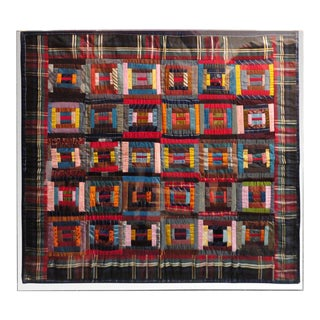 20th Century Rare Mounted Silk Log Cabin Quaker Crib Quilt From Philadelphia, Pa For Sale