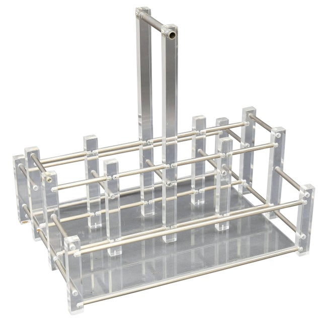 Late 20th Century Modern Acrylic Bar Caddy For Sale - Image 5 of 5