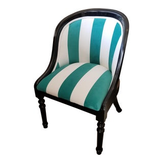 """Breakfast at Tiffany's"" Teal & White Striped Chair"