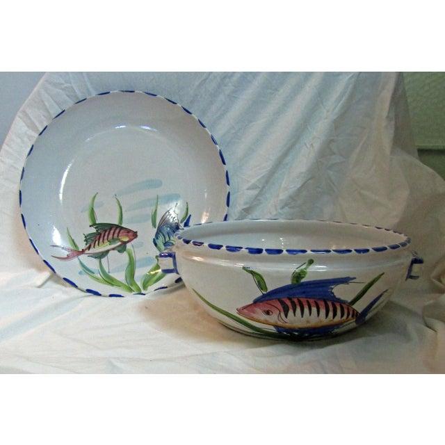 Vietri Italian Ceramic Serving Bowl & Plate - A Pair - Image 2 of 7