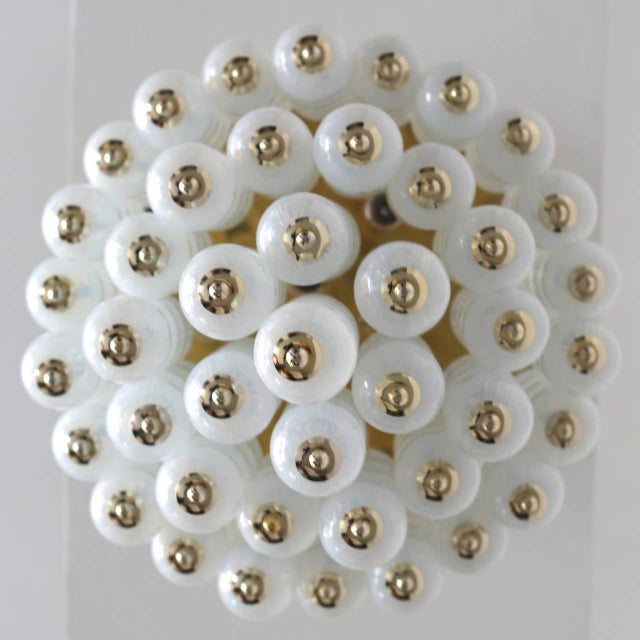 Modern Very Huge Opaline Murano Glass Balls and Brass Chandelier by Zero Quattro Milan For Sale - Image 3 of 6