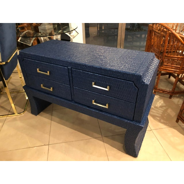 Vintage Blue Lacquered Wicker Brass Credenza Chest Console Table For Sale - Image 10 of 13