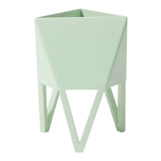 Large Deca Planter in Mint Green by Force/Collide, Indoor/Outdoor Steel For Sale