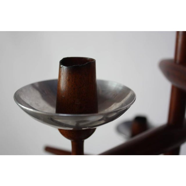 1960s James Martin Carved Walnut Floor Candelabrum For Sale - Image 11 of 11