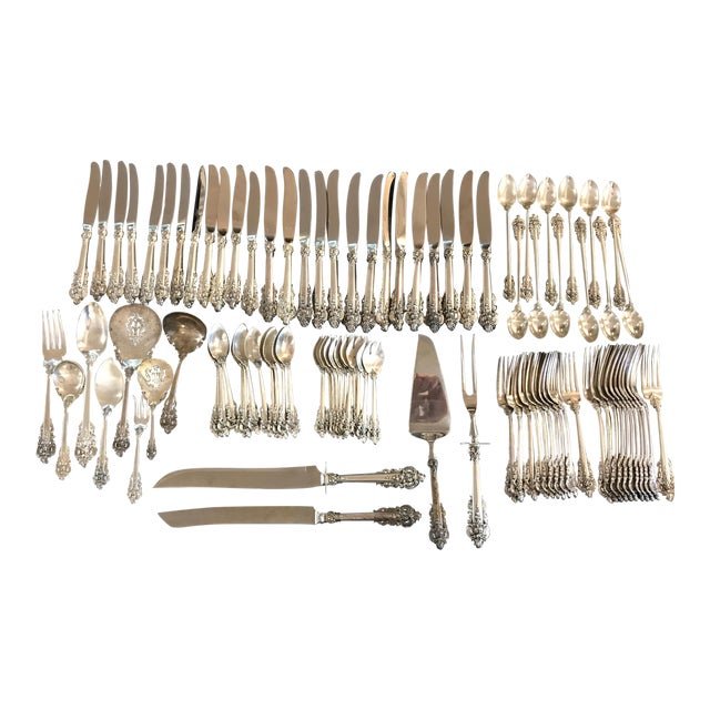 Wallace Sterling Silver Grand Baroque 93 Pc Flatware For Sale