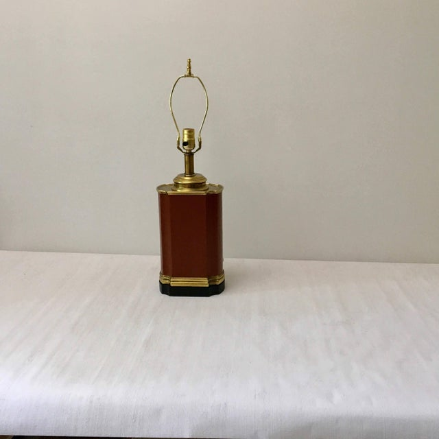 Vintage Brass and Brown Leather Tea Caddy Style Table Lamp For Sale - Image 11 of 11