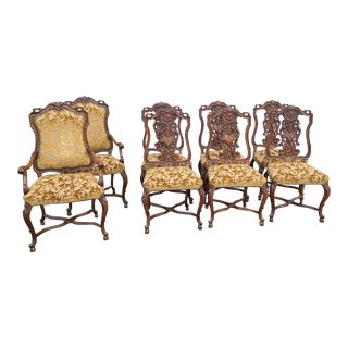 Set 8 Antique Finely Carved Walnut French Louis XV Rococo Dining Room Chairs C1920 For Sale