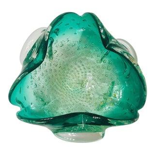 Italian Mid-Century Murano Glass Bowl in Emerald Green For Sale