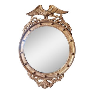 Late 19th Century Gilded Federal Eagle Convex Mirror For Sale