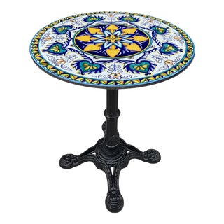 Cast Iron Volcanic Stone Top Bistro Table or Dining Table. For Sale