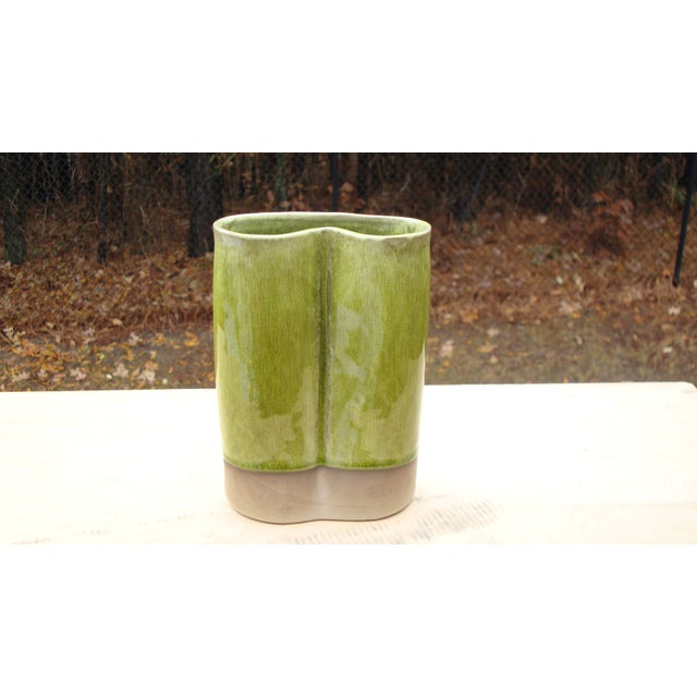 French Ceramic Chartreuse Green Vase JARS France - Image 5 of 8