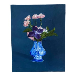 Floral Still Life in a Blue and White Vase Oil Painting For Sale