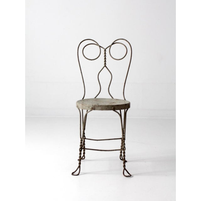 Gray Vintage Ice Cream Parlor Chair For Sale - Image 8 of 9
