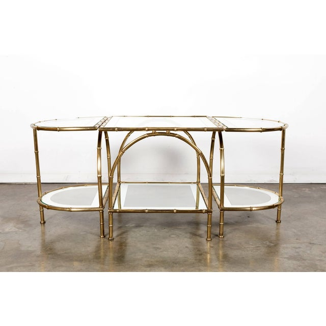 Gold Hollywood Regency Maison Baguès Brass Faux Bamboo Three-Piece Coffee Table - 3 Pieces For Sale - Image 8 of 10