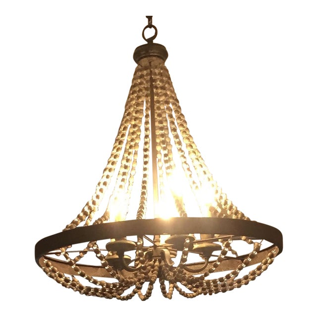 Rustic French Country Beaded Chandelier For Sale