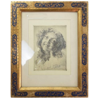 Italian Etching Portrait and Sgraffito Gold Frame, 1900-1930 For Sale