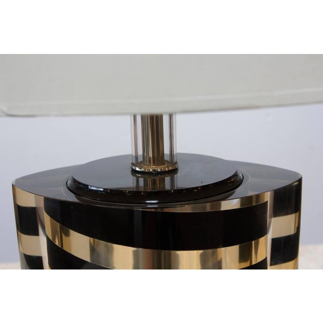 Black and Gold Striped Lucite Lamp For Sale - Image 5 of 6