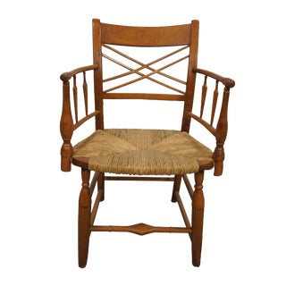 19th Century Early American Antique Maple Captains Arm Chair For Sale