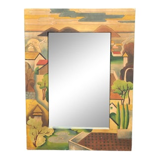 Vintage Wpa Style Landscape Hand Painted Goatskin Mirror by Sarreid For Sale