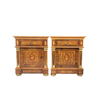 20th Century English Style Nightstands With Floral Marquetry- a Pair For Sale