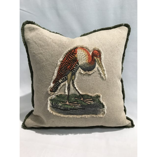 Feather Safari Stork Linen & Cotton Appplique Quilted Zoo Animal Design Legacy Kelly O'Neal Pillow Baby's Room For Sale - Image 7 of 7