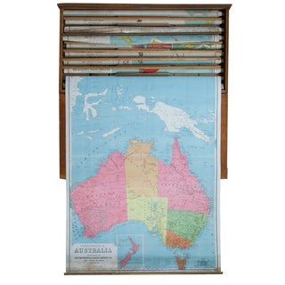 Antique Pull Down Map of Australia For Sale