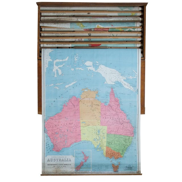 Antique Pull Down Map of Australia