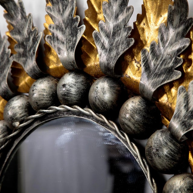 Mid Century Spanish Gilt and Silver Metal Sunburst Mirrors - A Pair - Image 7 of 9