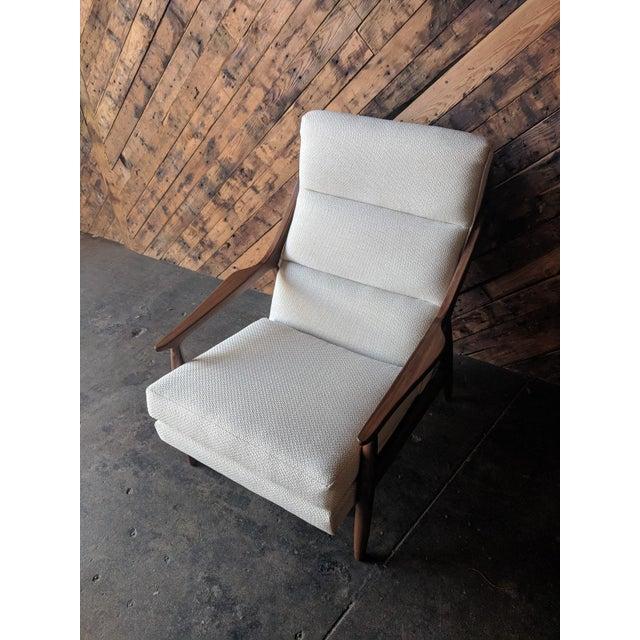Fabric Custom Danish Mid Century Style Lounge Chair For Sale - Image 7 of 9
