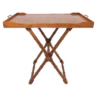 Hollywood Regency Burl Wood Butler's Tray, Convertible to Coffee Table For Sale