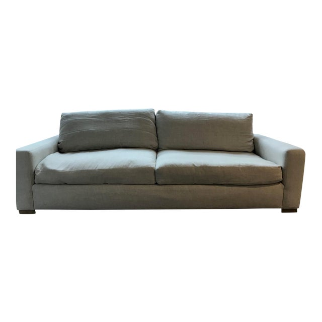 Restoration Hardware Maxwell Upholstered Sofa in Belgian Linen For Sale